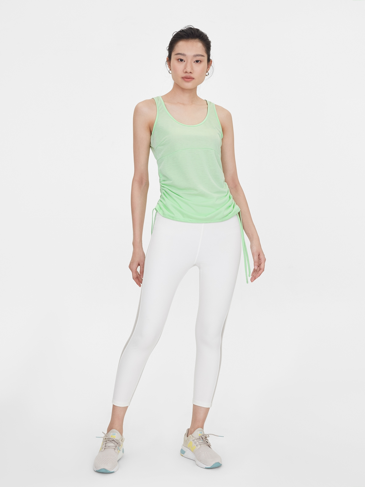 Side Ruched Loose Tank Green