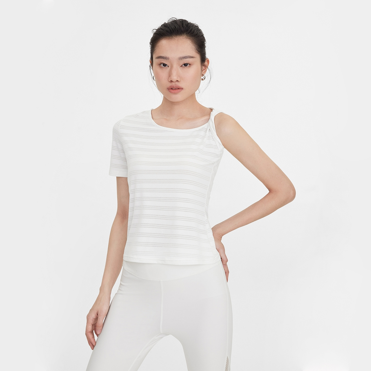 One Side Rolled Up Sleeve Tee White