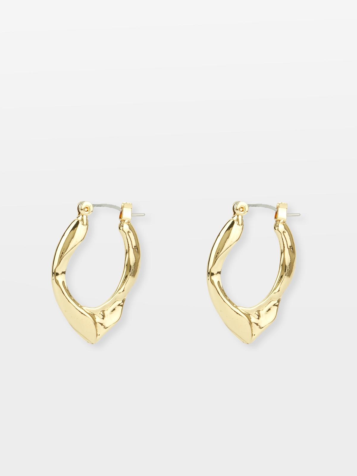 Circular Textured Hoop Earrings Gold