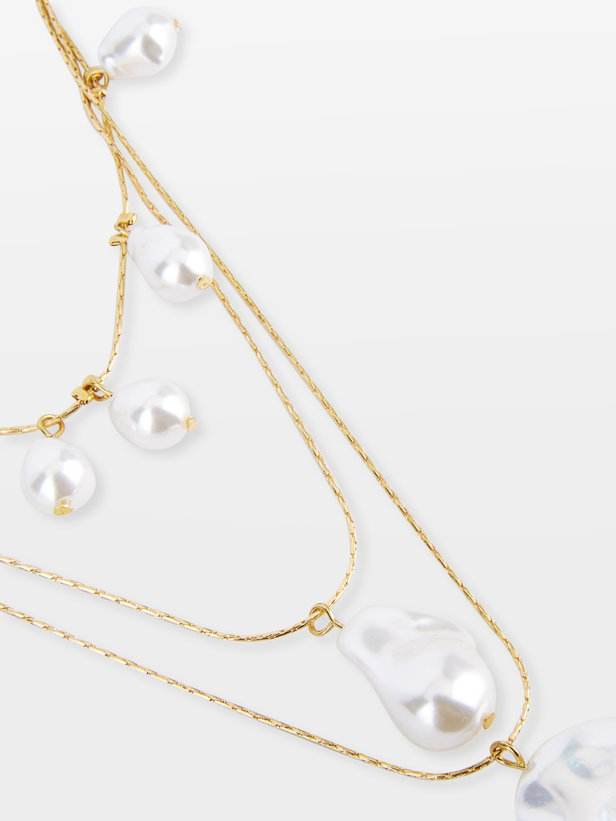 Layered Oversized Pendant Pearl Necklace Gold
