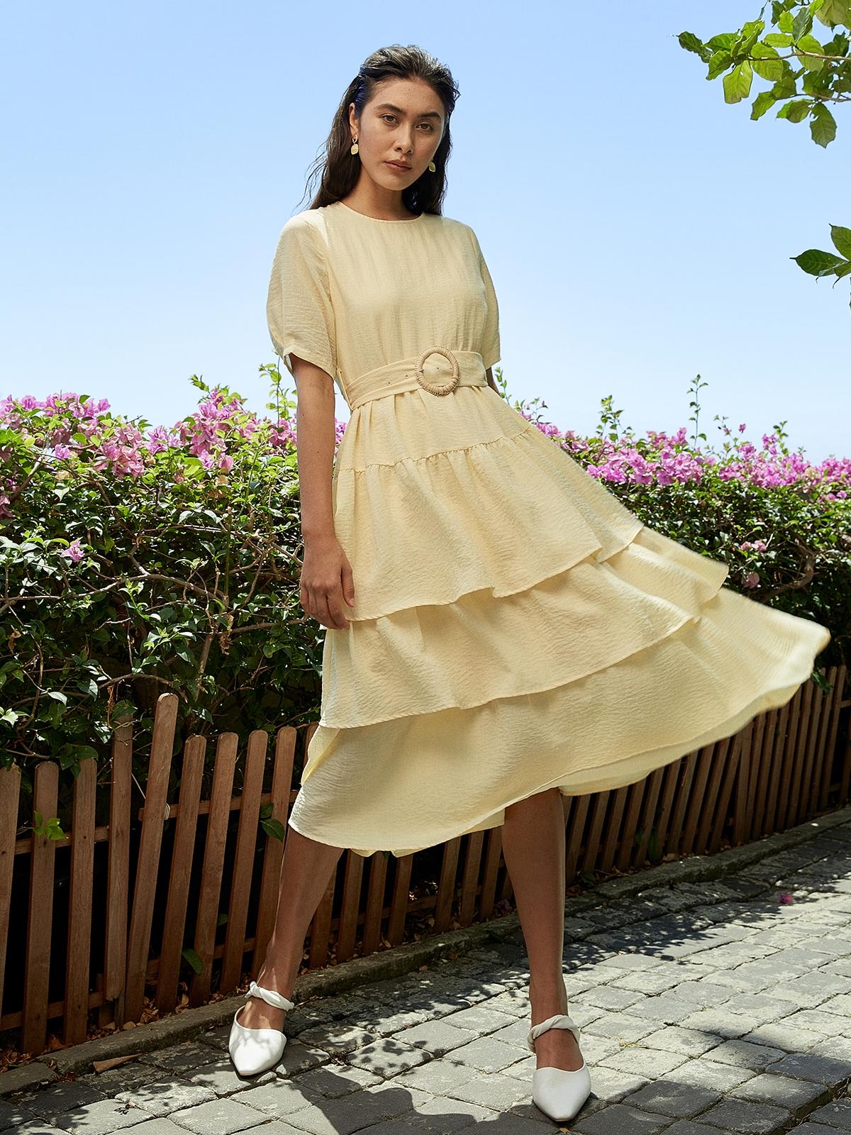 Maxi Layered Ruffle Dress Yellow