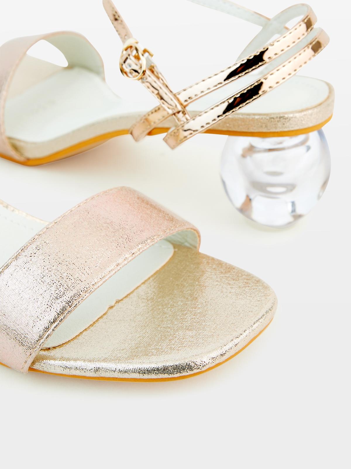 Rocket and Planet Luna Crystal Sandals Gold