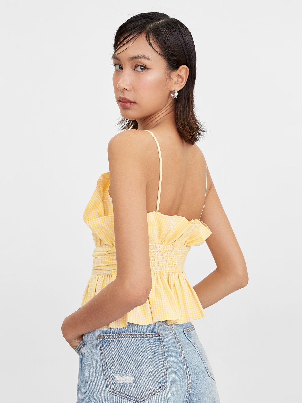 Gingham Cinched Cami Yellow