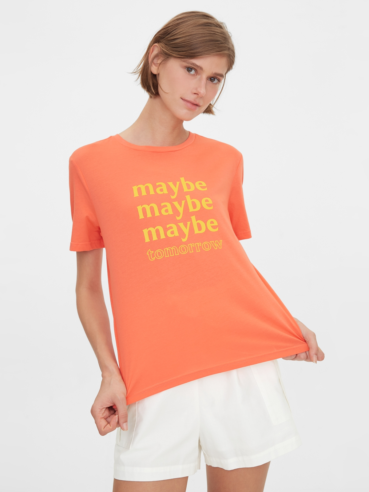 Maybe Tomorrow Graphic Tee Coral Red