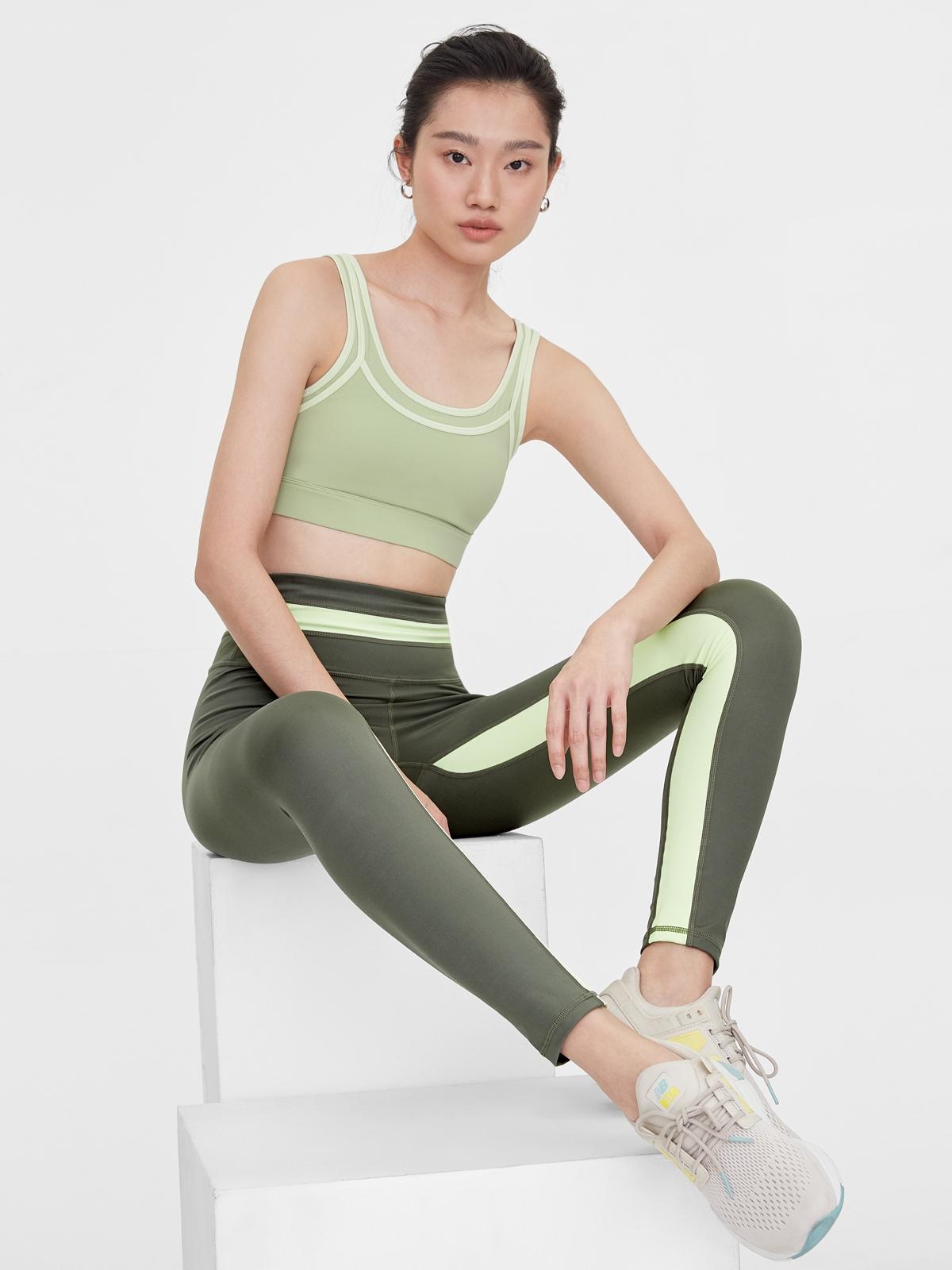 Contrast Side Leggings Green