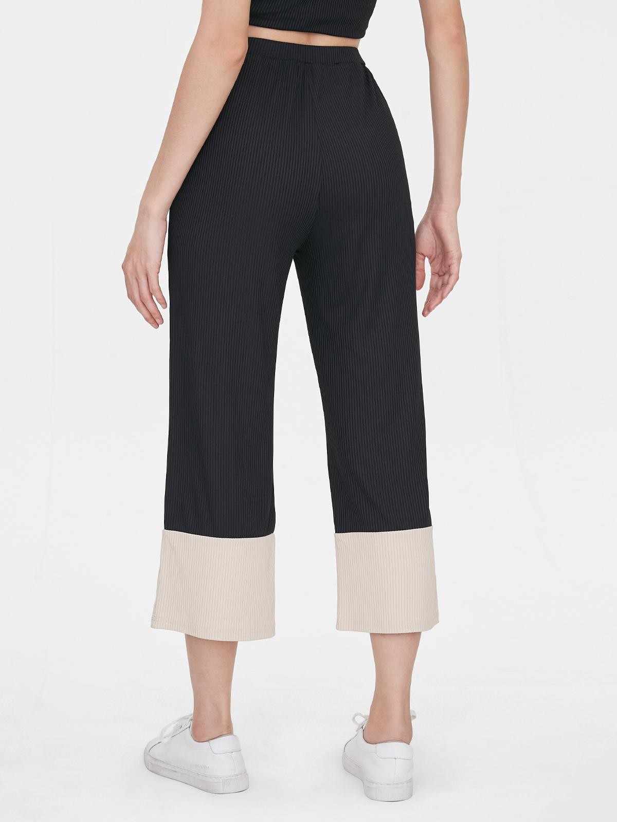 Two Tone Flared Pants Black