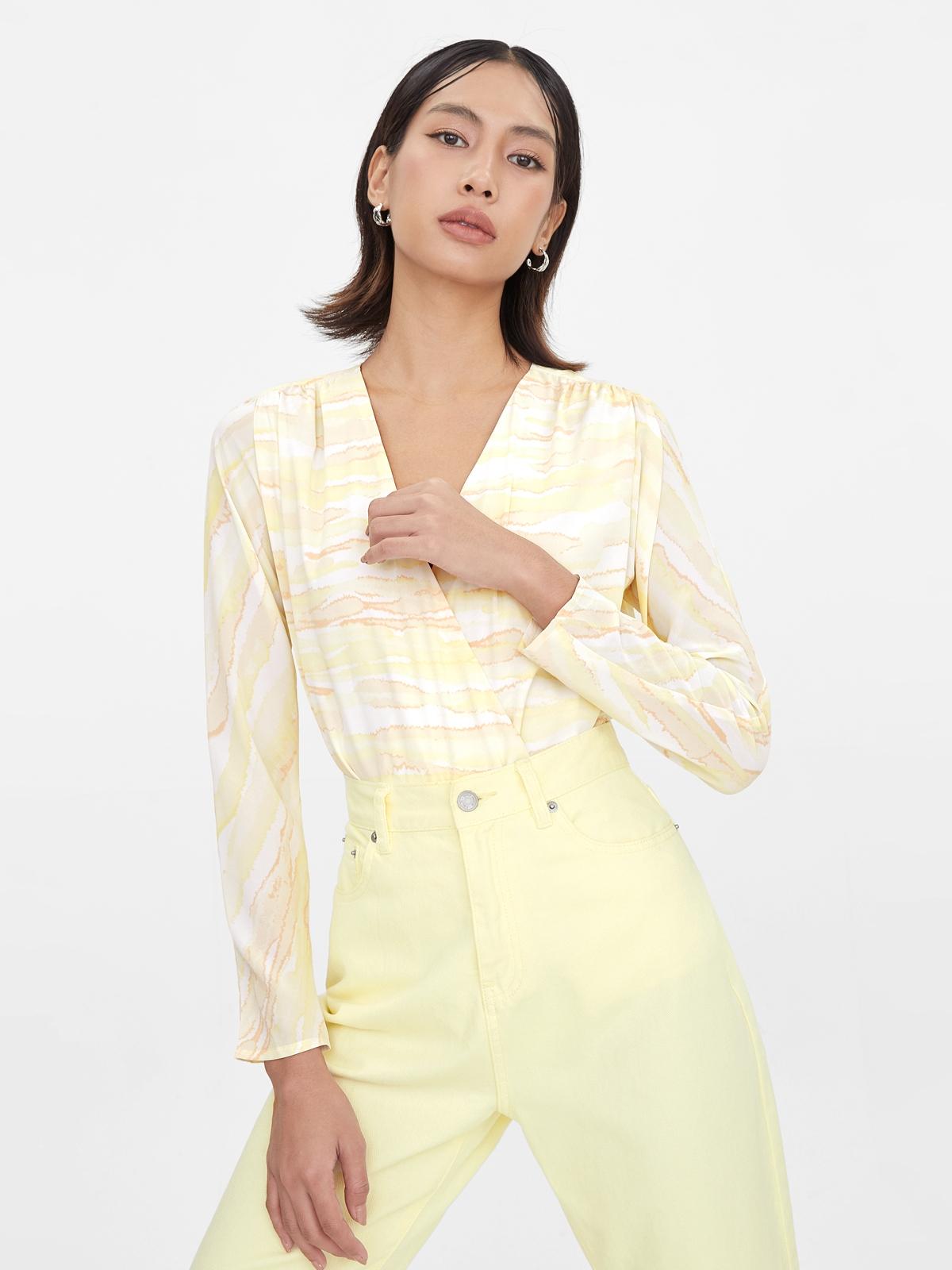 V Neck Marble Print Bodysuit Yellow