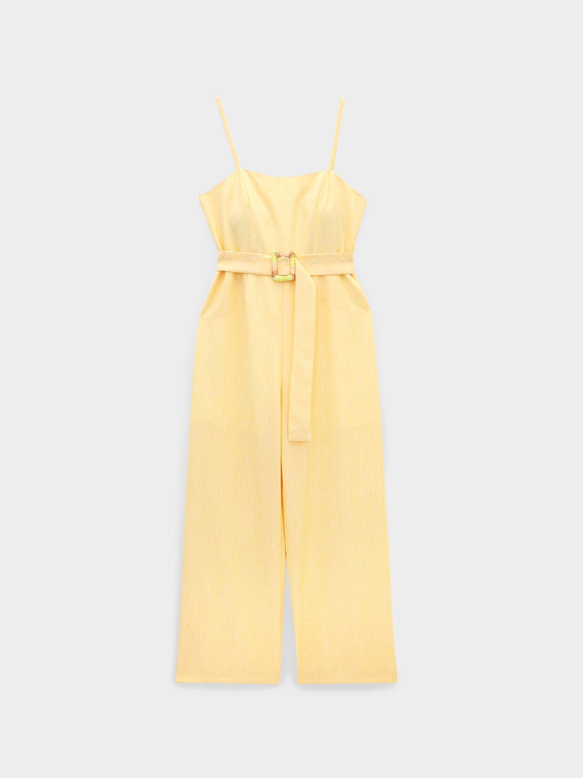 Colorful Woven Buckle Cami Jumpsuit Yellow