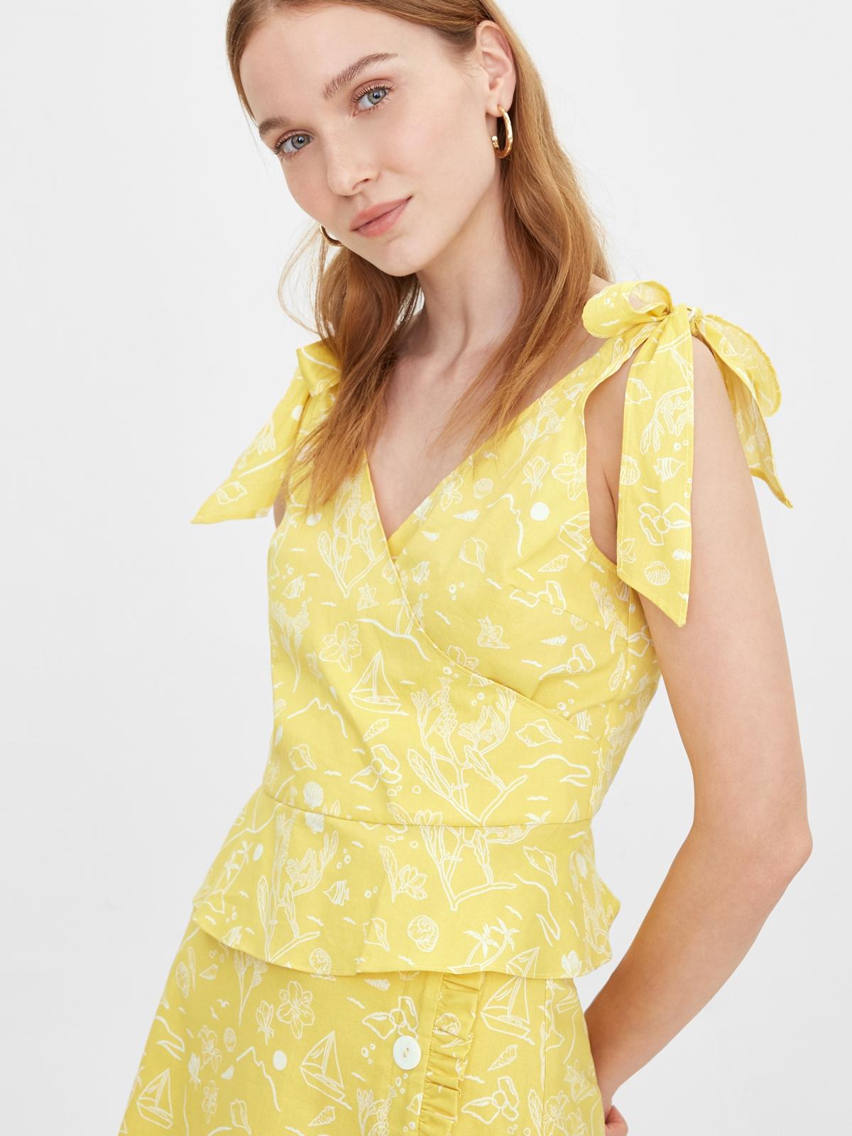 Purpose Beach Print Bow Tie Tank Yellow
