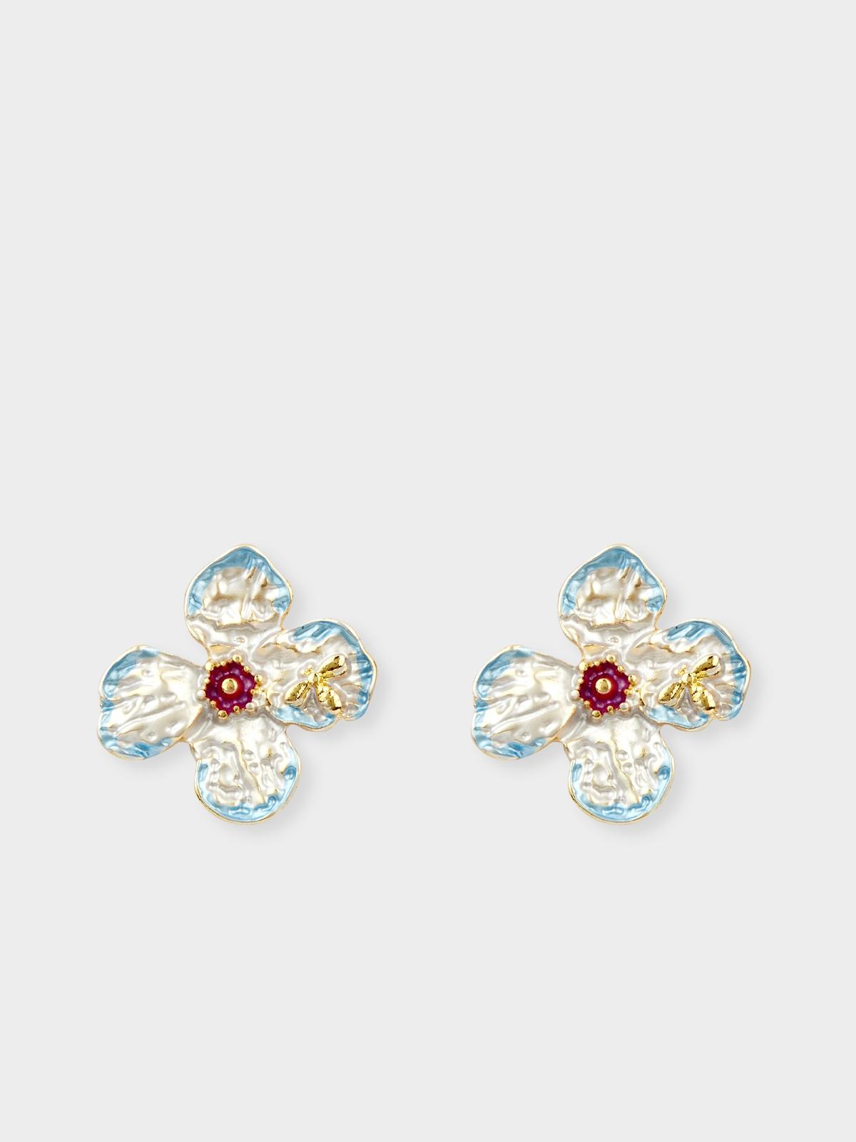 Floral Stud Earrings Silver
