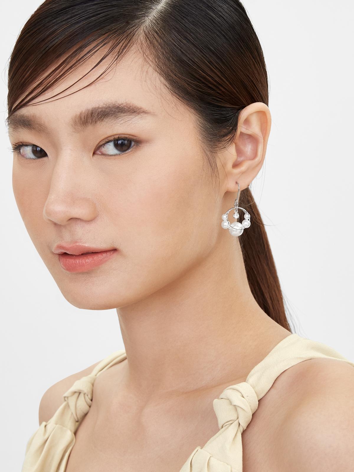 Pearl Accent Hoop Drop Earrings Silver