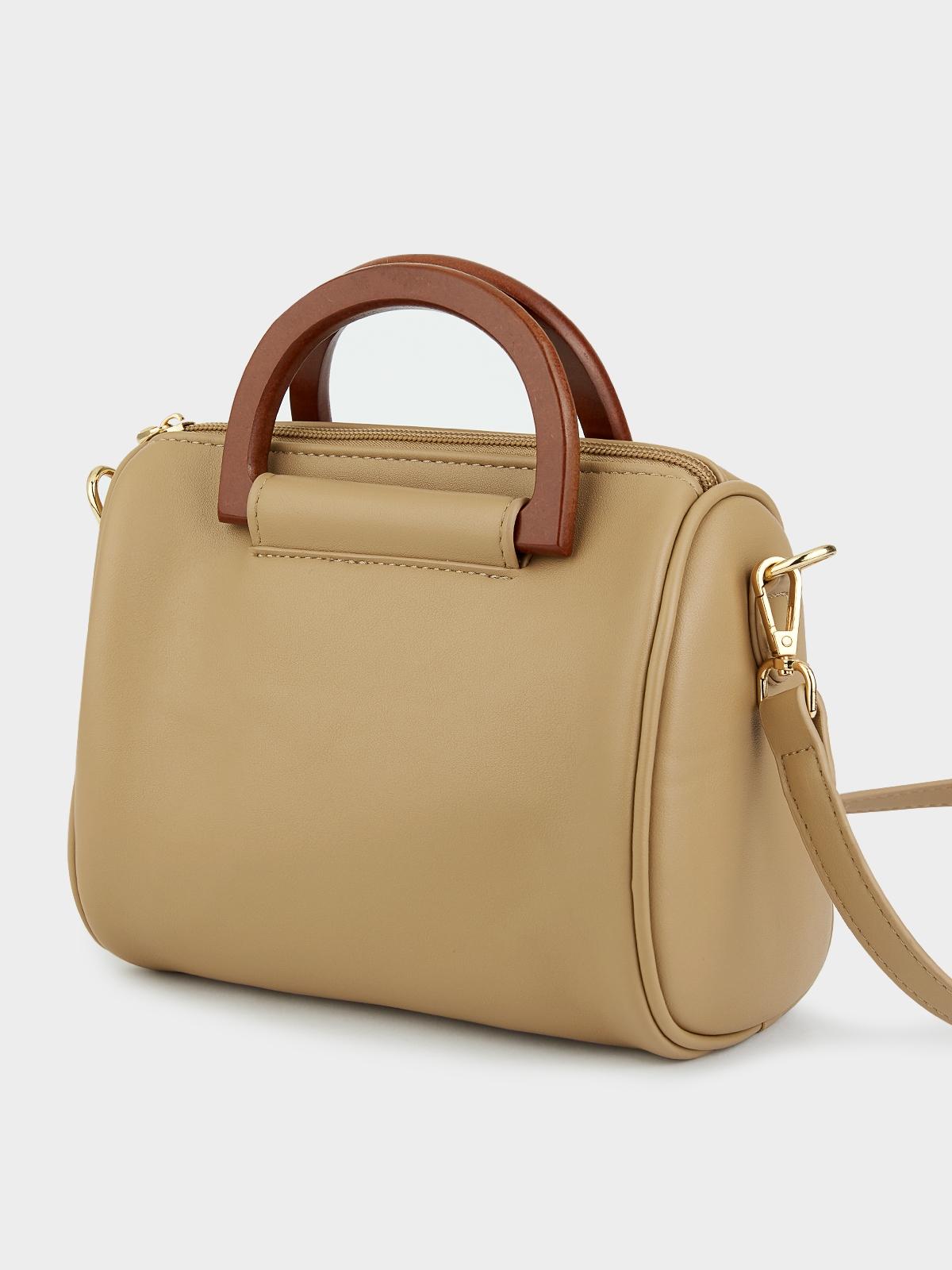 Wood Handle Square Crossbody Bag Brown