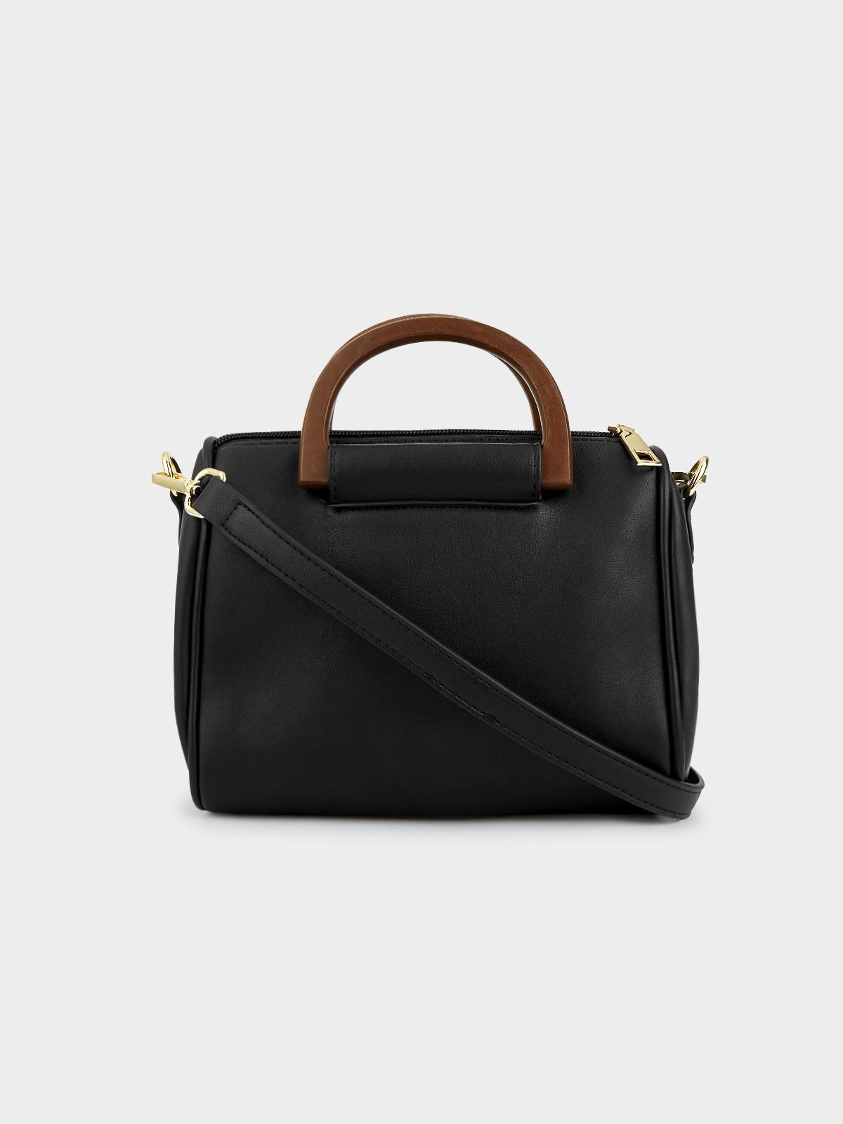 Wood Handle Square Crossbody Bag Black