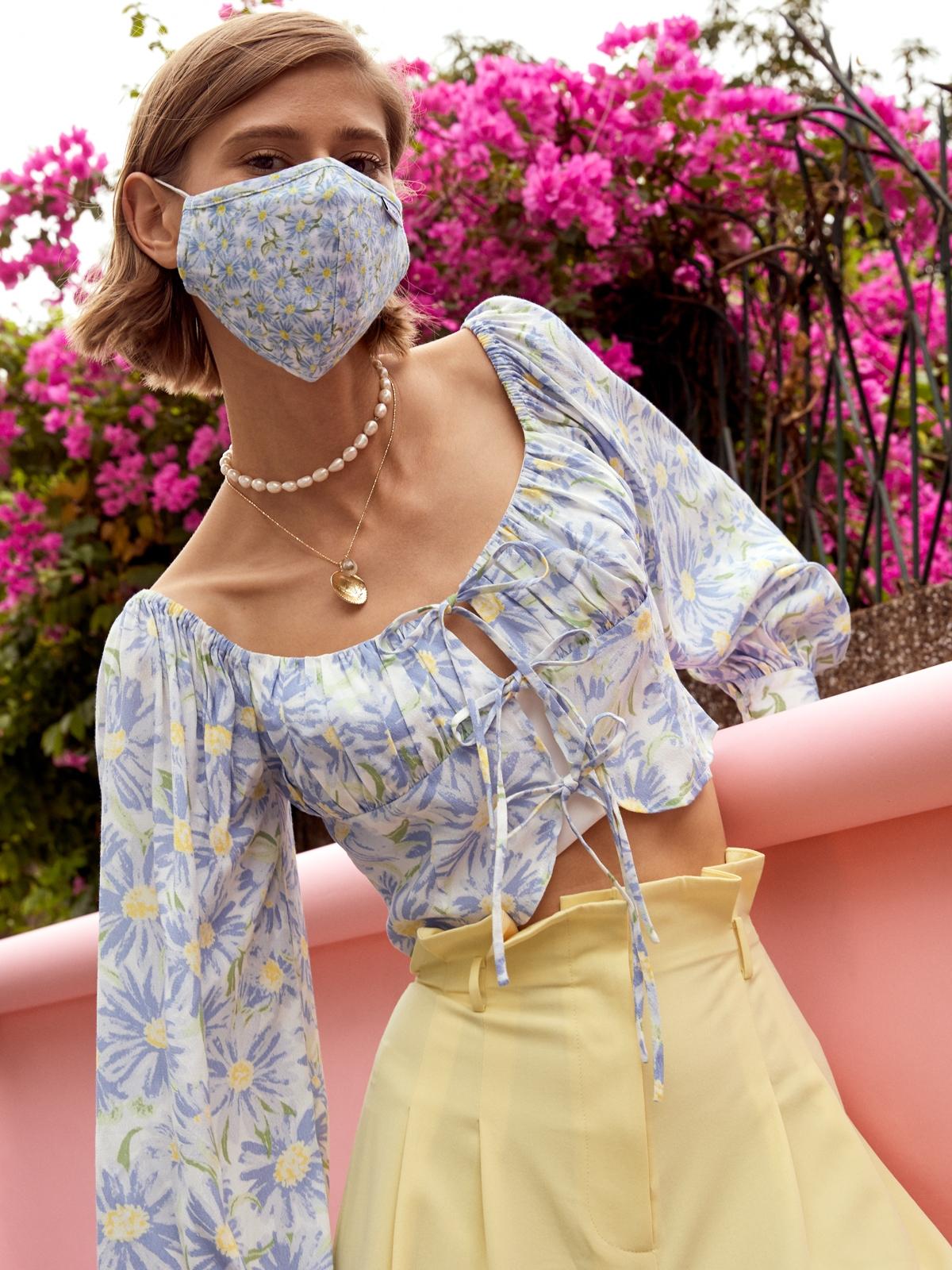 Reusable 2 Pieces Floral Face Mask Set Multi Color
