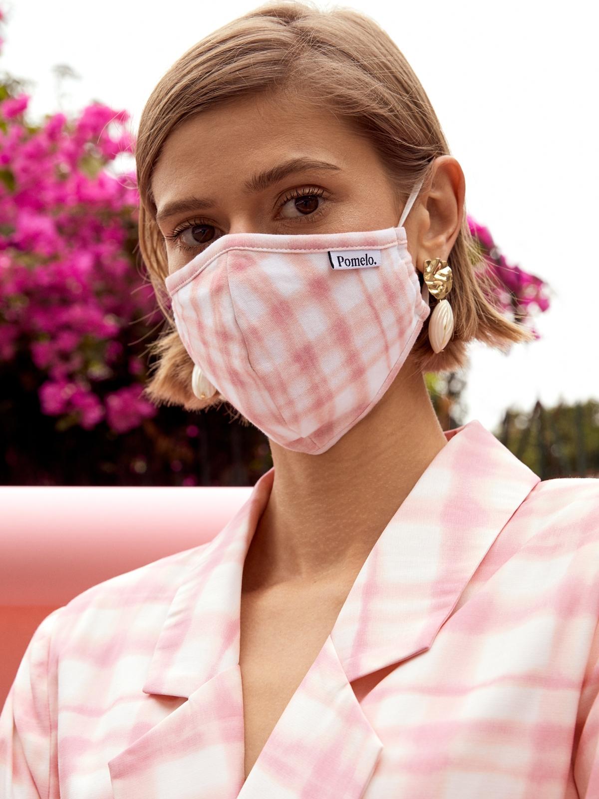 Reusable 2 Pieces Plaid Face Mask Set Multi Color