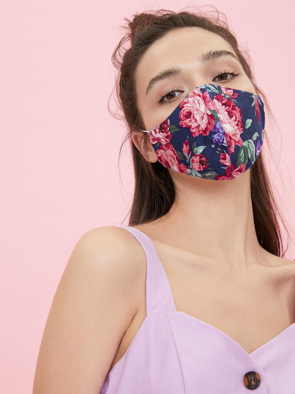 People Triple Defense Layer Mask Flowery Purple