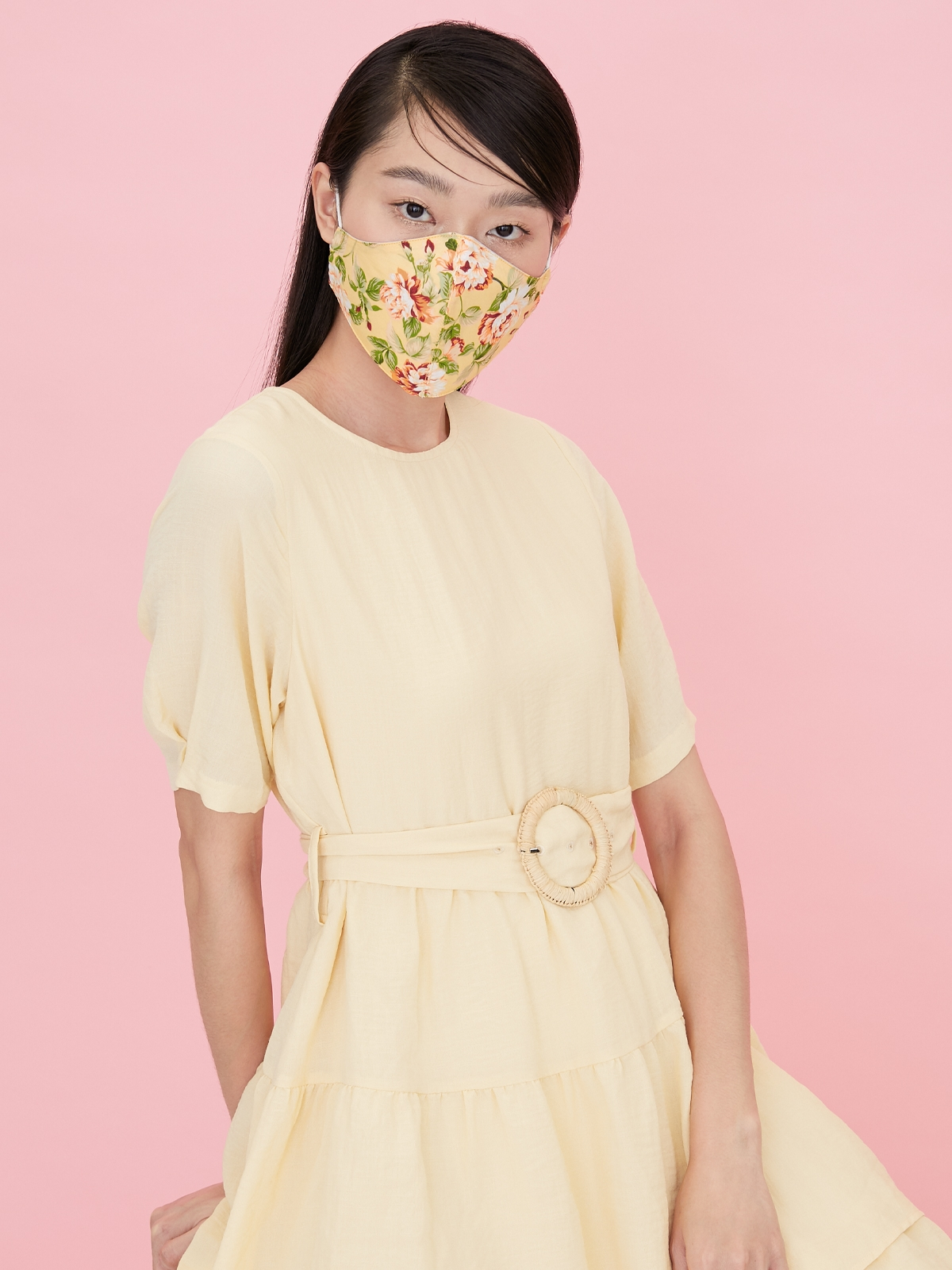 People Triple Defense Layer Mask Flowery Yellow