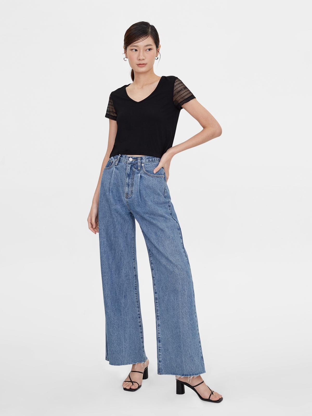 Lace Short Sleeves Tees Black