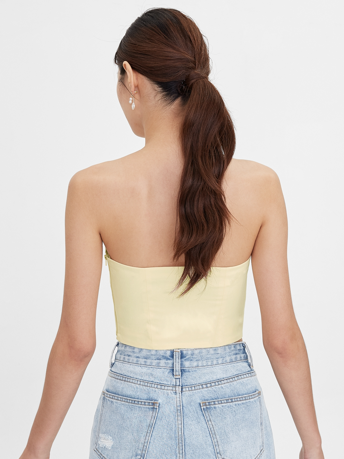 Sweetheart Ruched Bow Tube Top Yellow