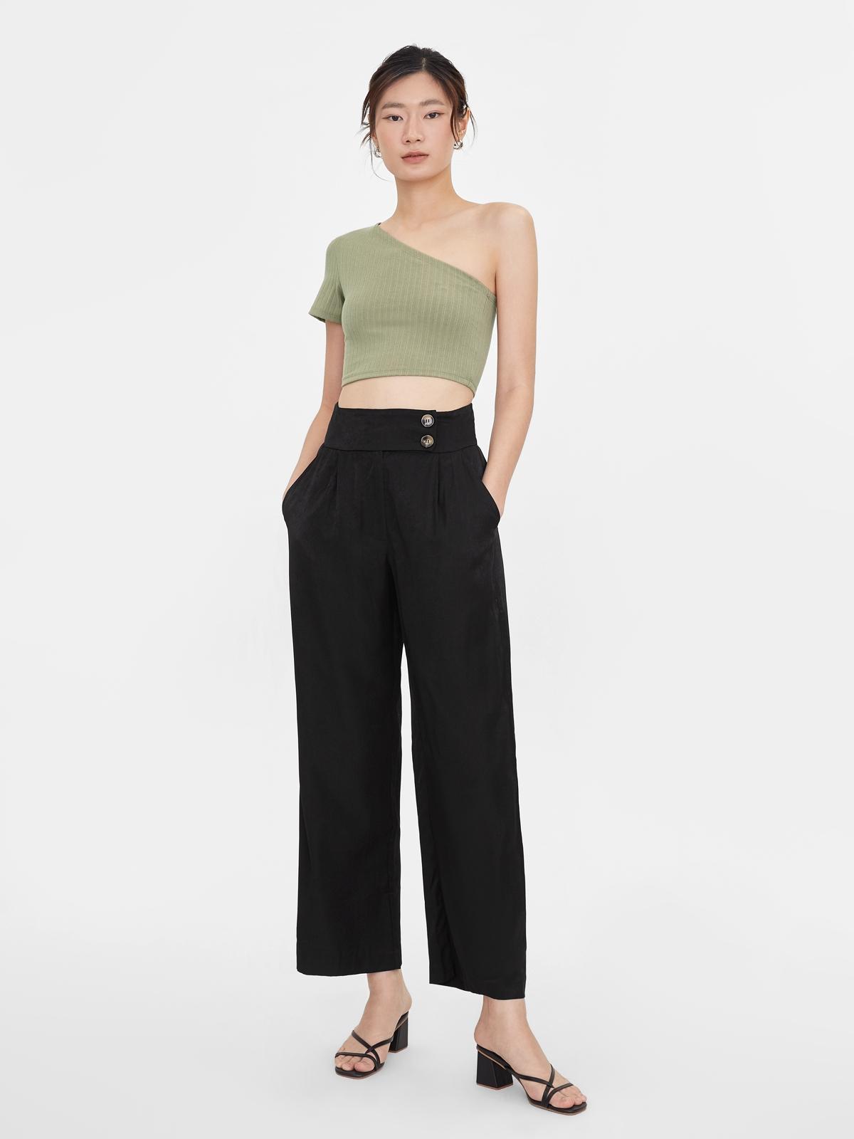 One Shoulder Crop Top Green