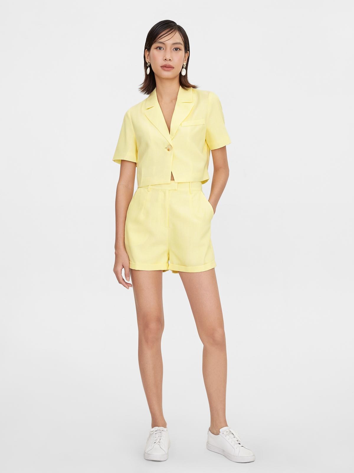 Single Button Crop Blazer Yellow