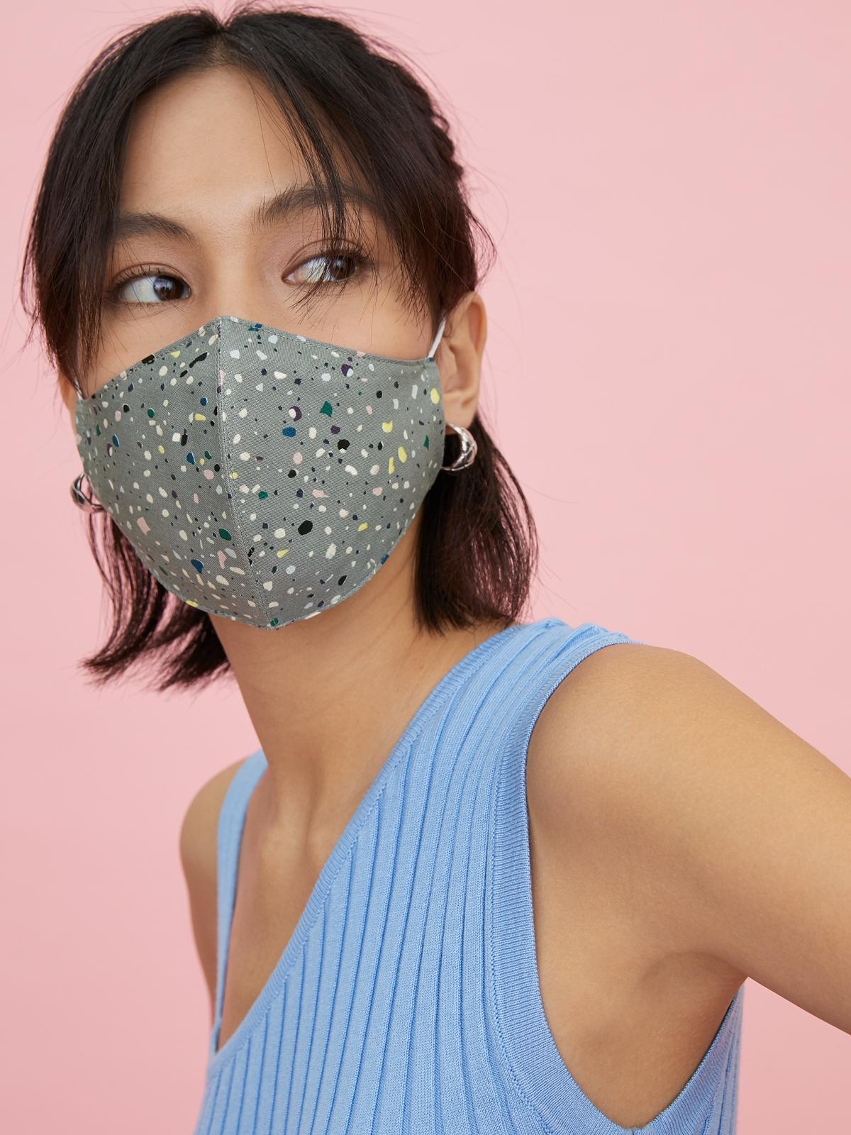 People Triple Defense Layer Mask Paint splash Mid Grey