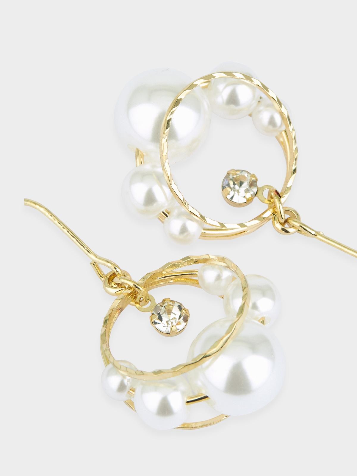 Pearl Accent Hoop Drop Earrings Gold