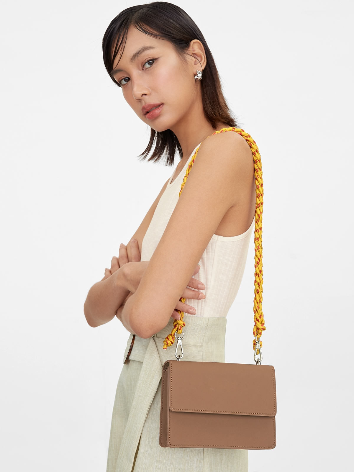 Colorful Braided Crossbody Bag Brown