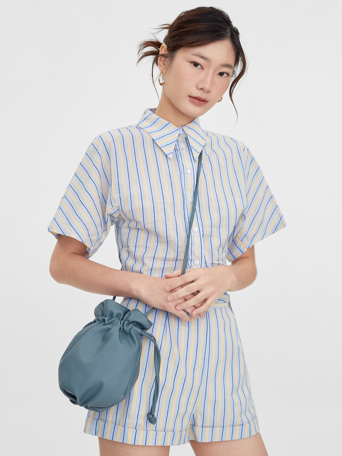 Mini Drawstring Crossbody Bag Blue