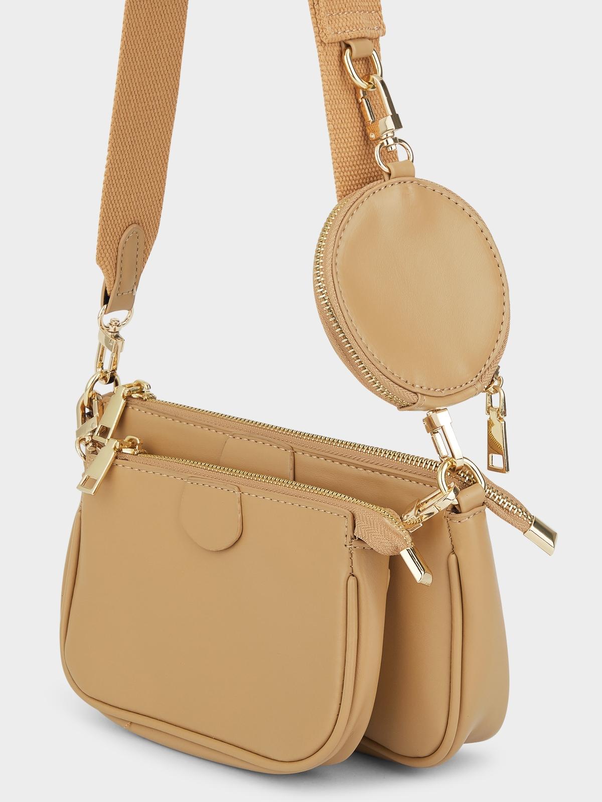 Three Size Crossbody Bag Beige