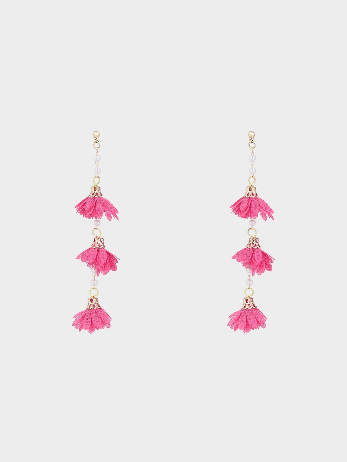 Triple Flower Drop Earrings Fuchsia
