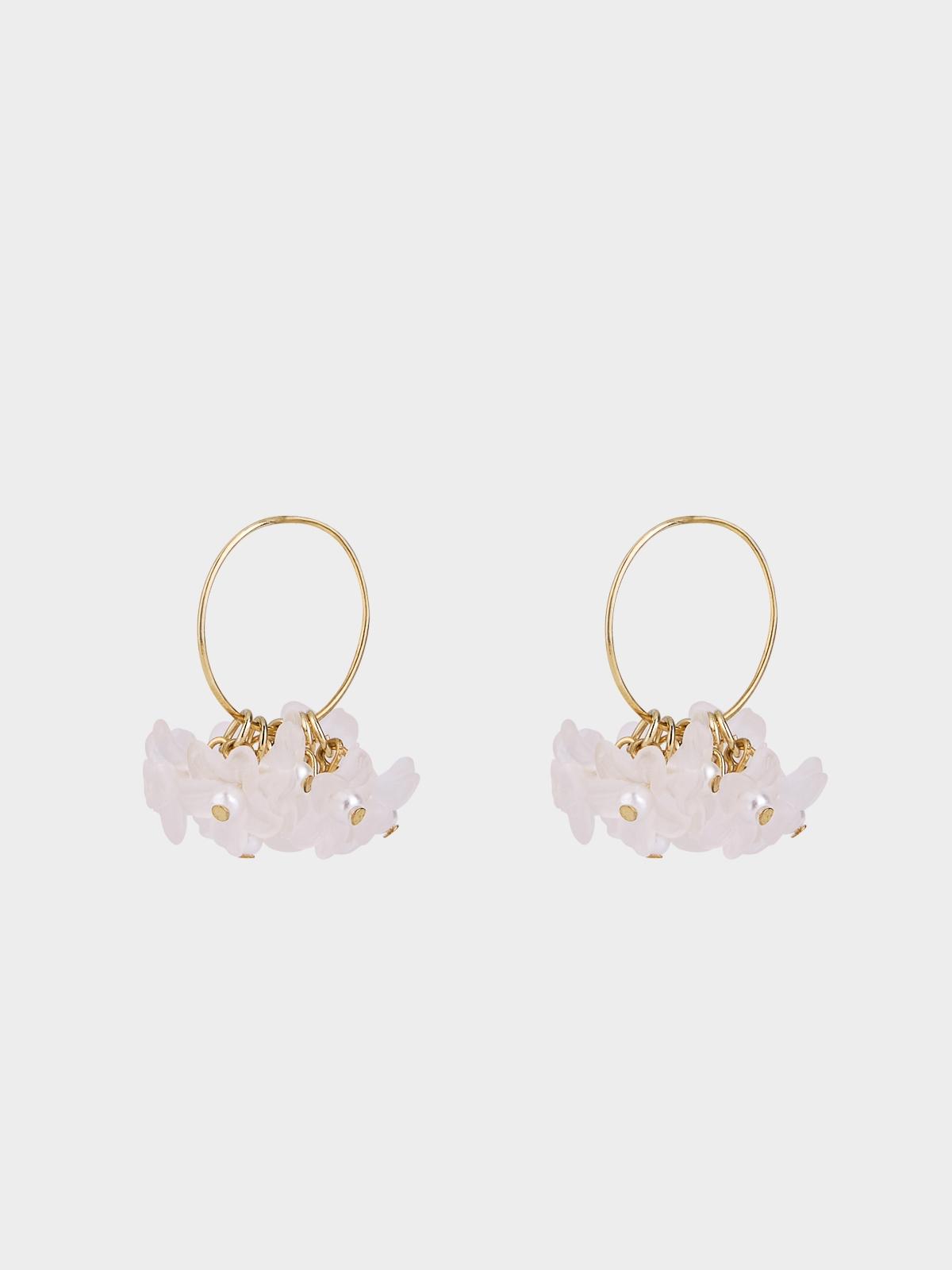 Multi Petal Hoop Drop Earrings Pink