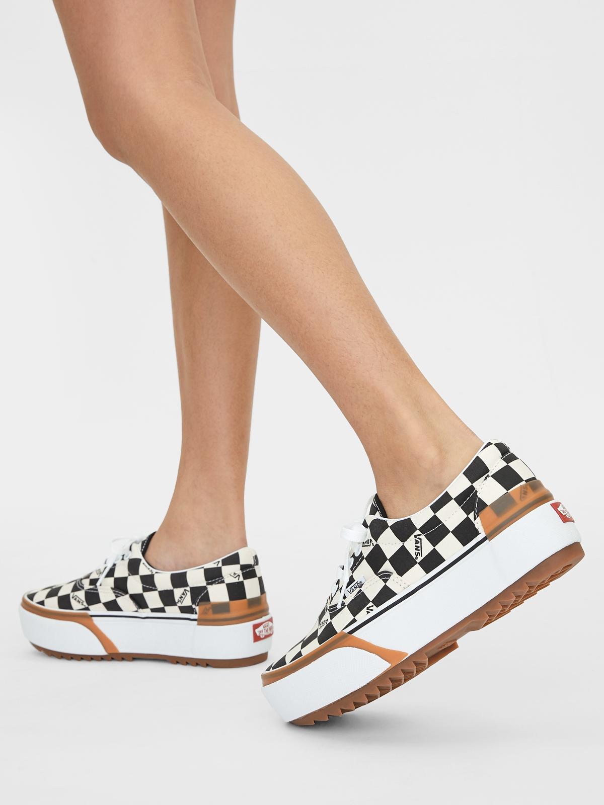 Vans UA Era Stacked Checkerboard Sneakers BlackWhite