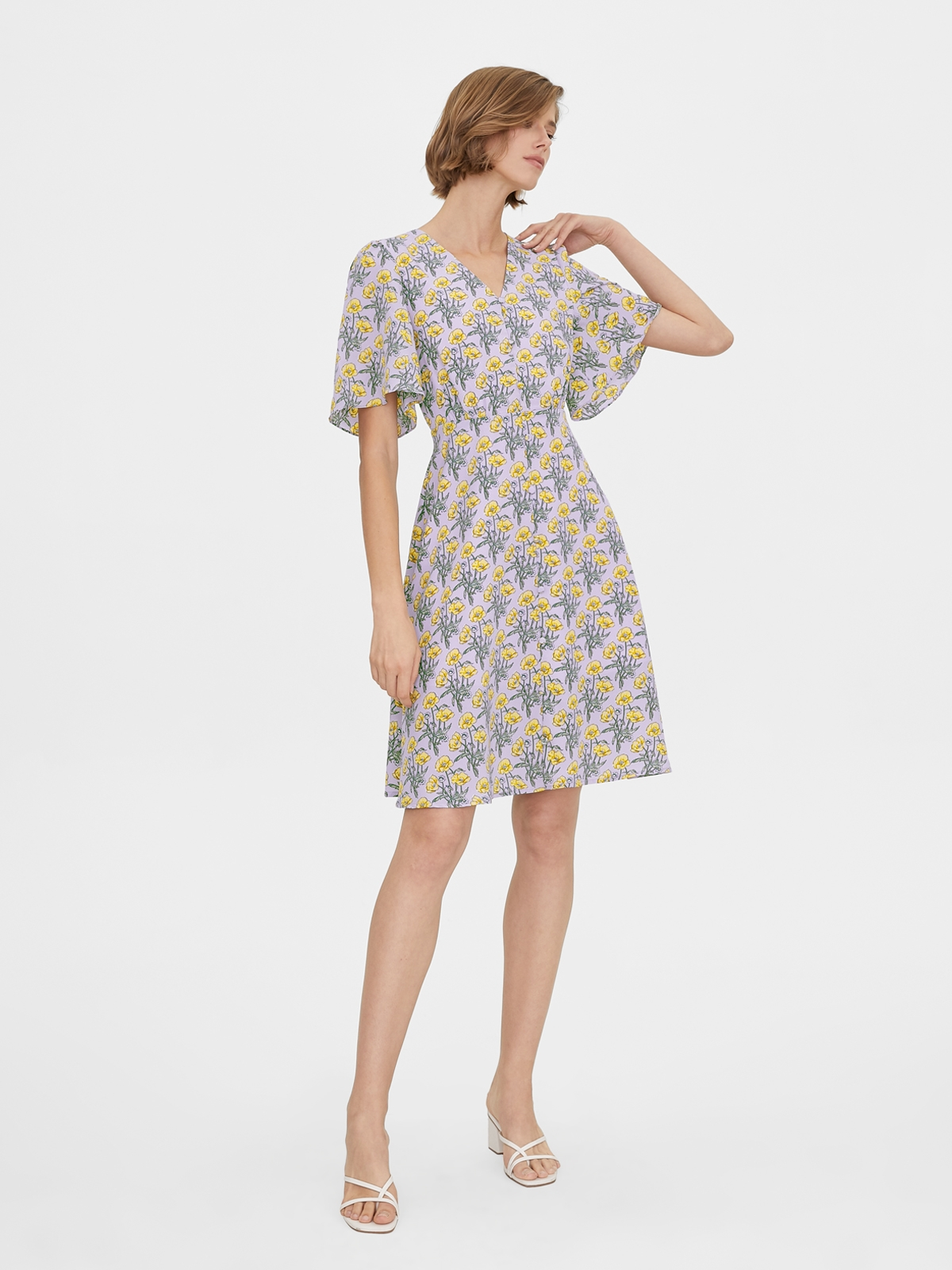 Butterfly Sleeves Floral Print Dress Purple