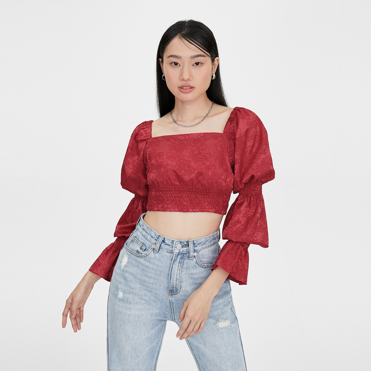 Matter Makers Satin Jacquard Tired Sleeve Red