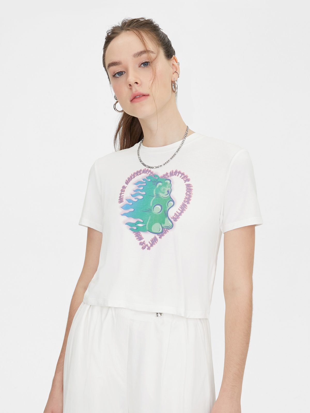 Matter Makers Gummy Bear On Fire Cropped Top Mid Grey