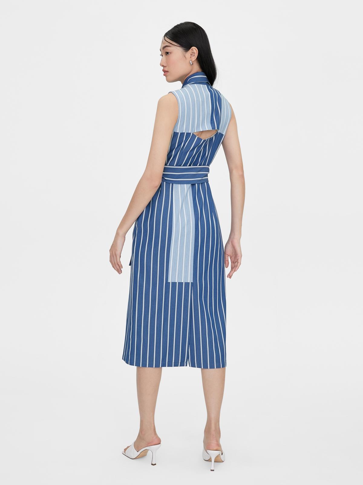 Matter Makers Poly Stripe Dress Blue