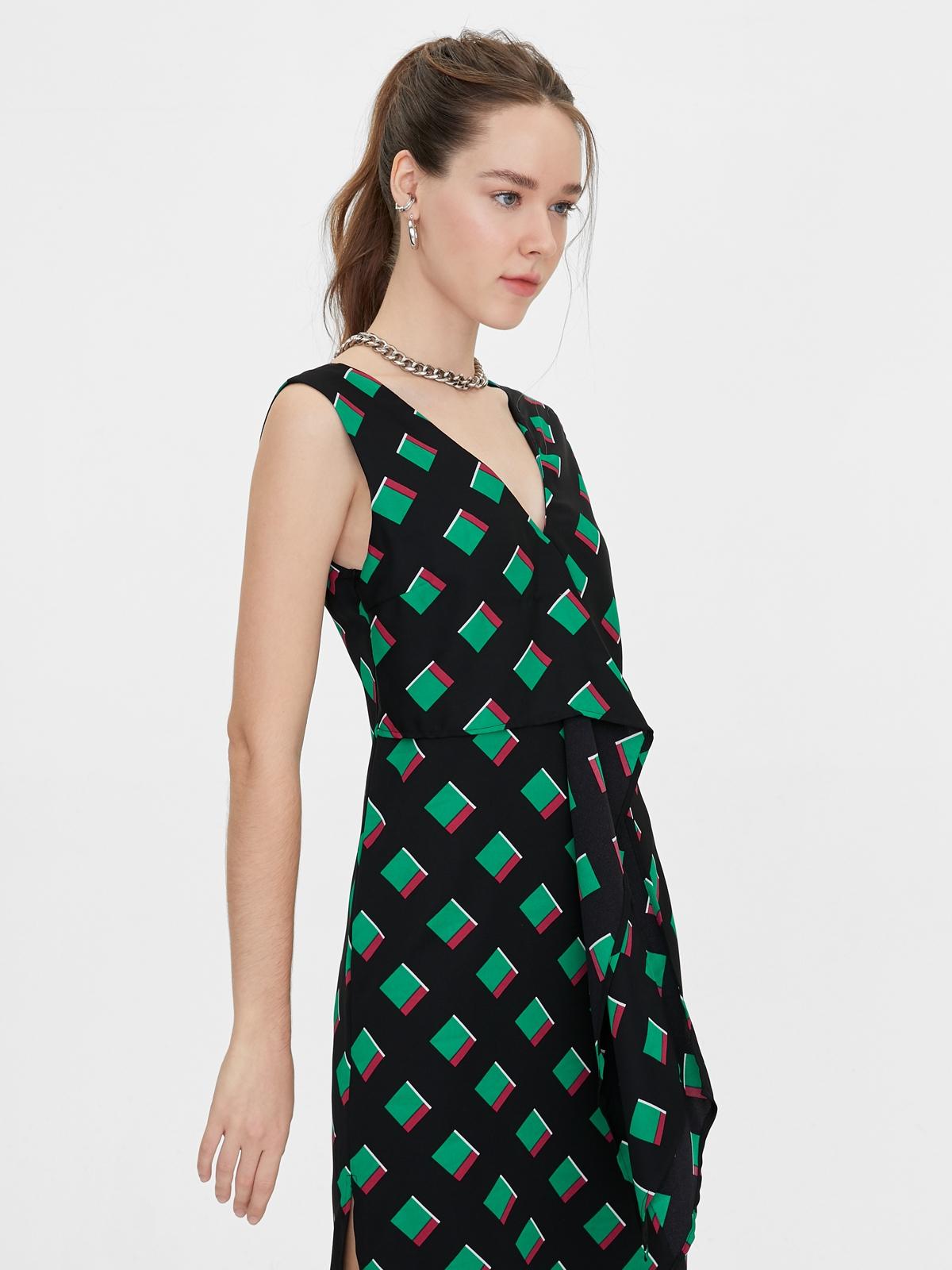 Matter Makers Geometric Printed Dress Black