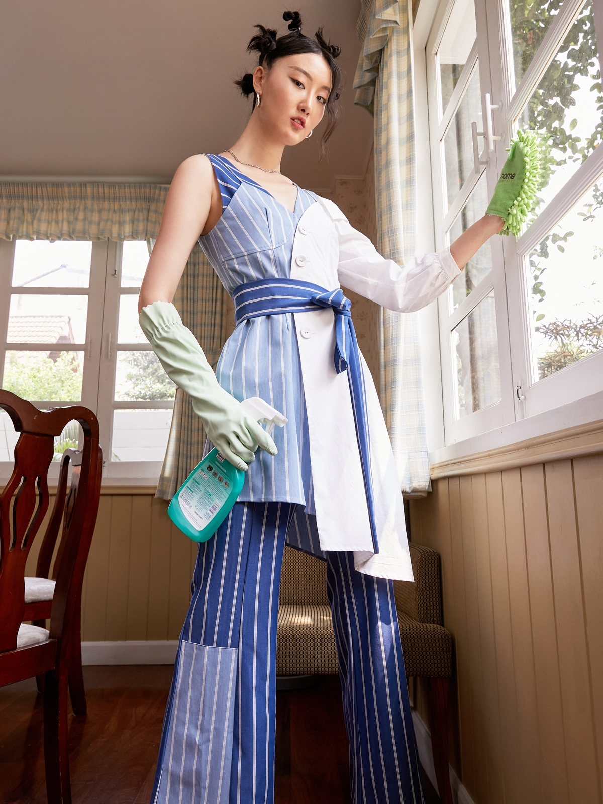 Matter Makers Poly Stripe Jumpsuit Blue