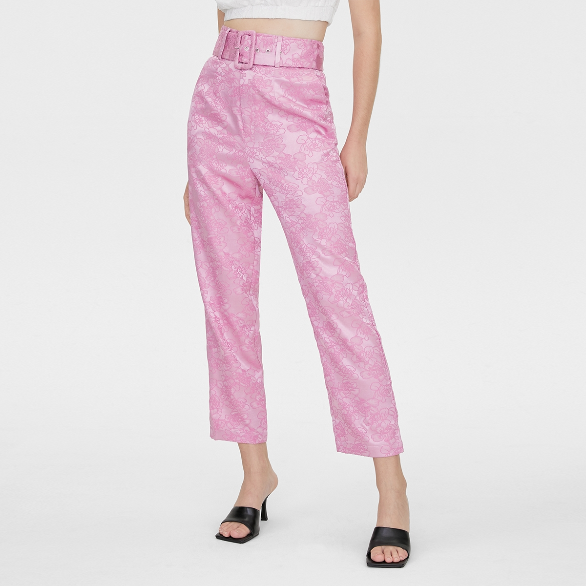 Matter Makers Satin Jacquard Classic Trousers Pink