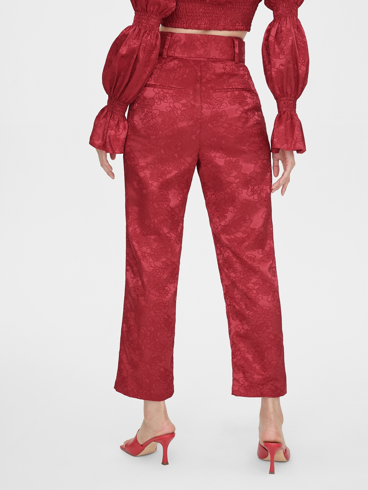 Matter Makers Satin Jacquard Classic Trousers Red