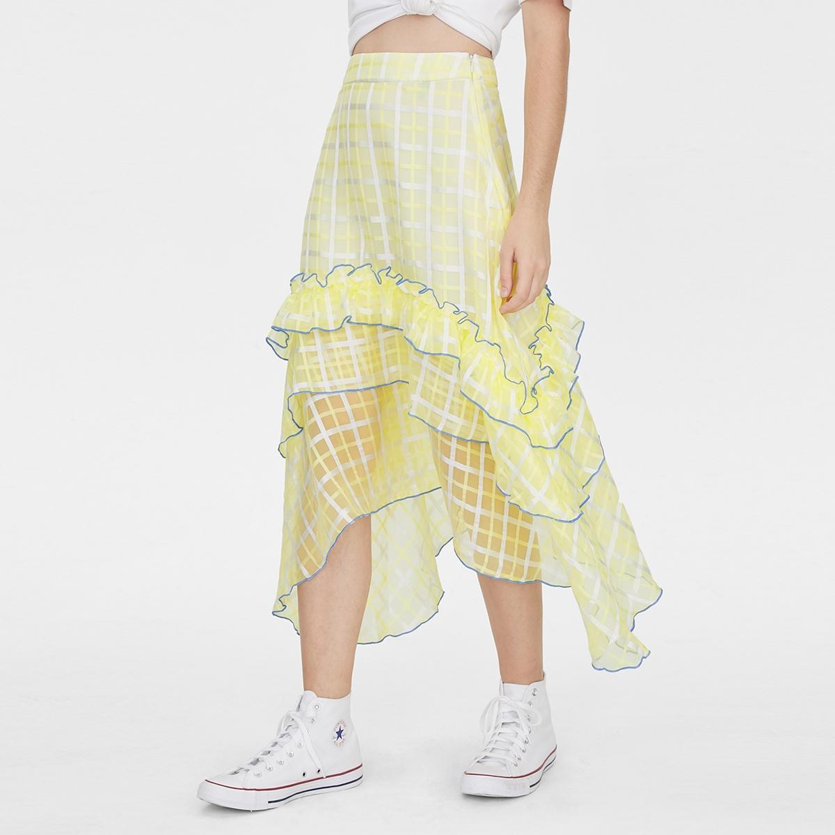 Matter Makers Checked Chiffon Midi Skirt Yellow