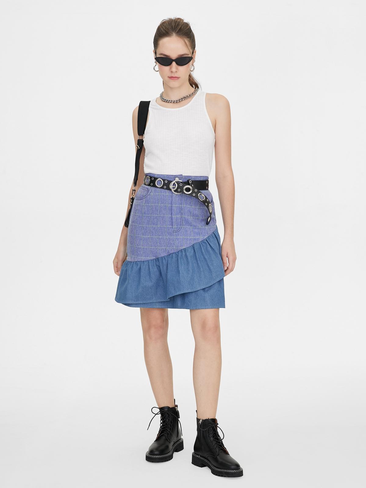 Matter Makers Tartan Ruffled Denim Skirt Blue