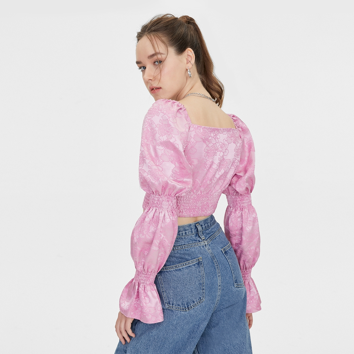 Matter Makers Satin Jacquard Tired Sleeve Pink
