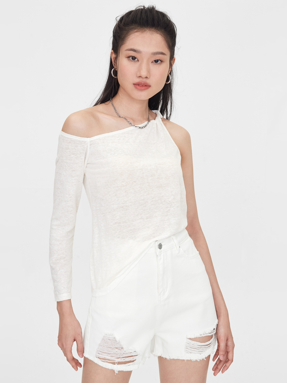 One Side Rolled Up Long Sleeve Top White