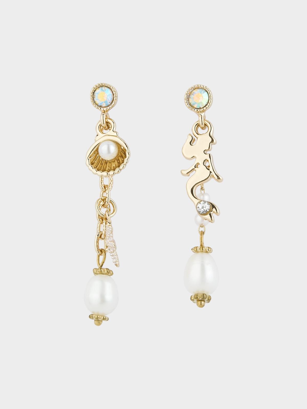 Mermaid Pearl Crystal Drop Earrings Gold