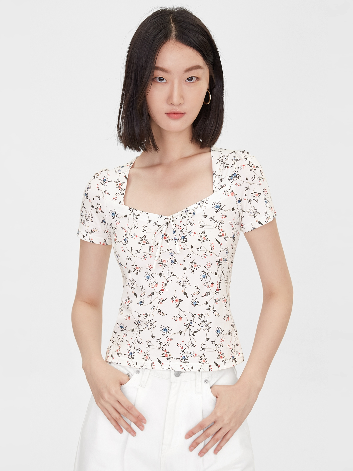 Floral Squared Neck Blouse White