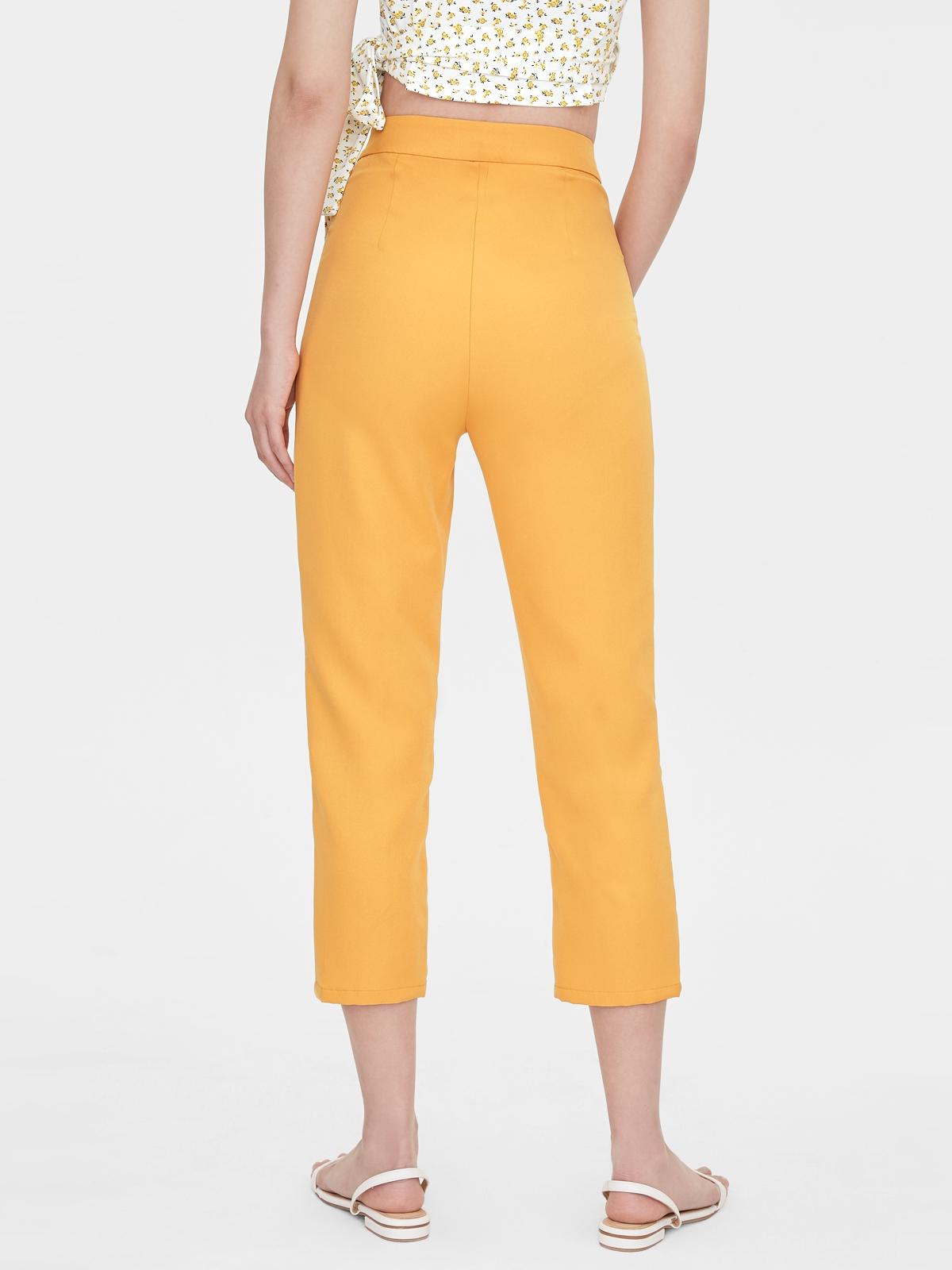 Cropped Skinny Cigarette Pants Mustard
