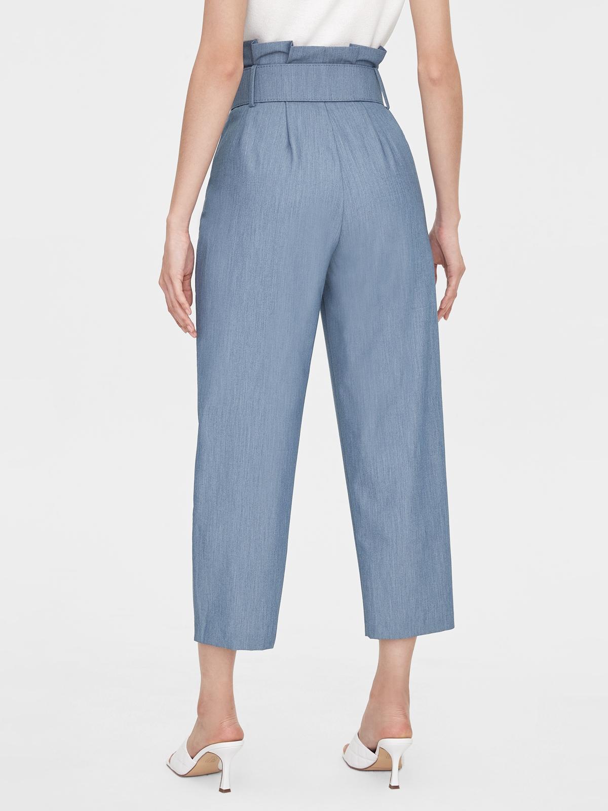 Belted Paper Bag High Waist Pants Blue