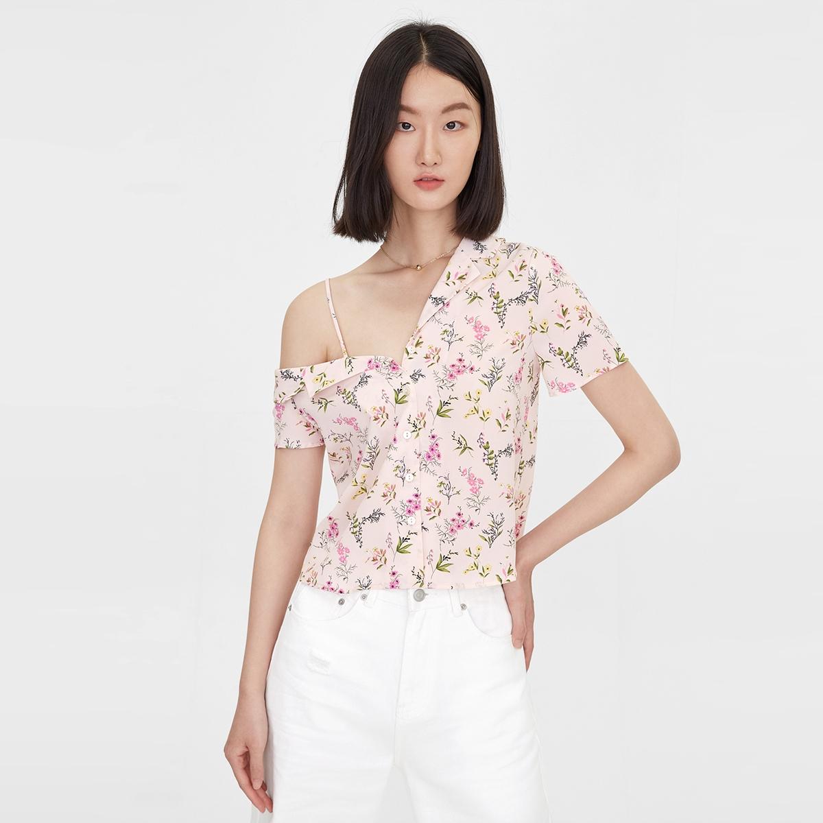 One Cold Shoulder Floral Shirt Pink